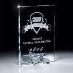 Optic Crystal Rectangle with Star Base Employee Awards