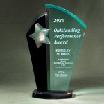 Patina Star Tower Jade and Black Lucite on Base Employee Awards